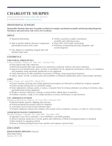 Fiber Optics Technician Sle Resume by Industrial Fiber Optics Cable Assembler Resume Sle Michigan Resumehelp