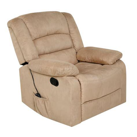 recliner with usb relaxzen beige microfiber rocker recliner with heat