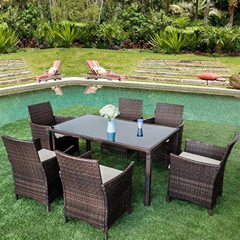 Wicker Patio Table Set Merax 7 Outdoor Wicker Dining Set Dining Table Set For 6 Patio Rattan Furniture Set