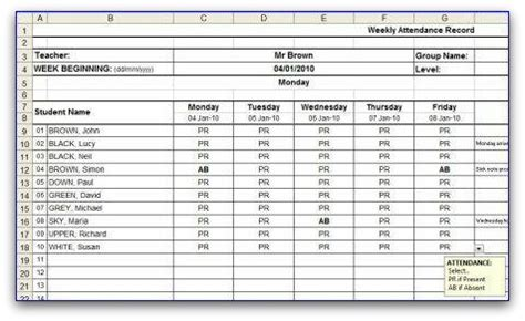 weekly attendance register template weekly attendance sheet