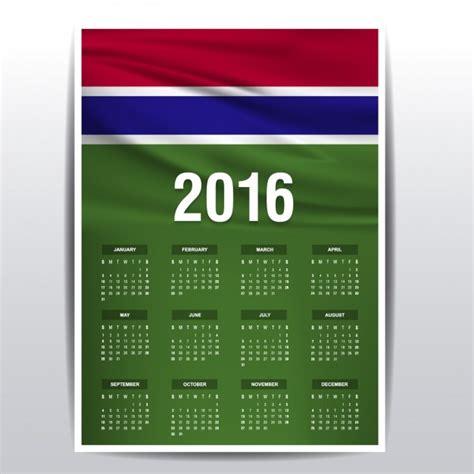 Gambia Calendario 2018 Calendario De Gambia De 2016 Descargar Vectores Gratis