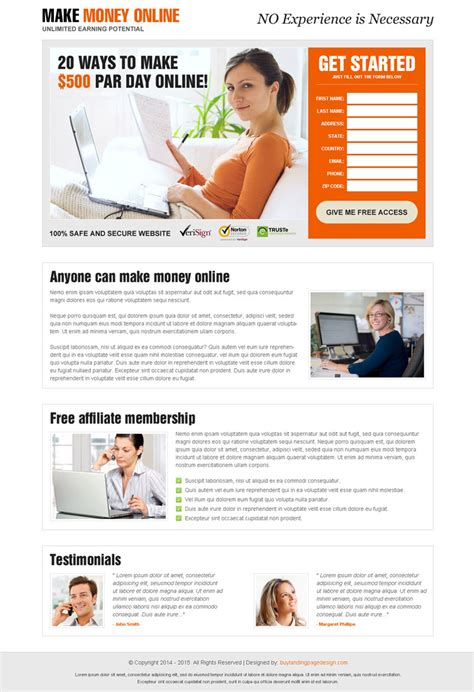 Make Money Online Leads - beautifully designed best converting landing page design 2015