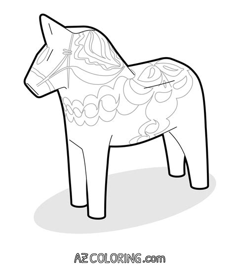 dala horse coloring page coloring home