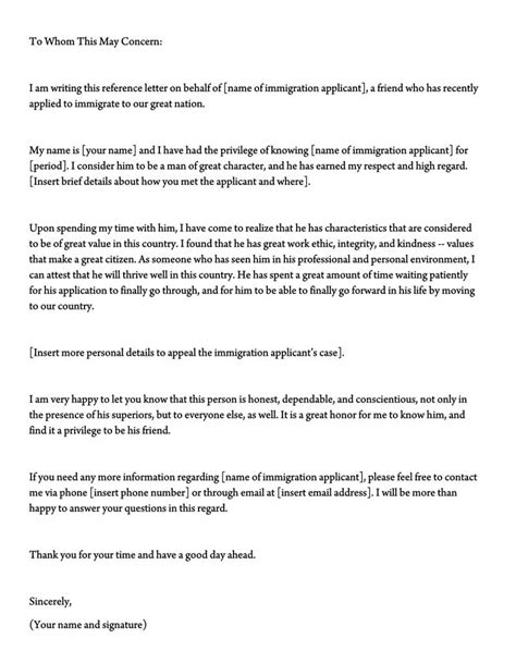 Letter of Support for Immigration (10+ Sample Reference