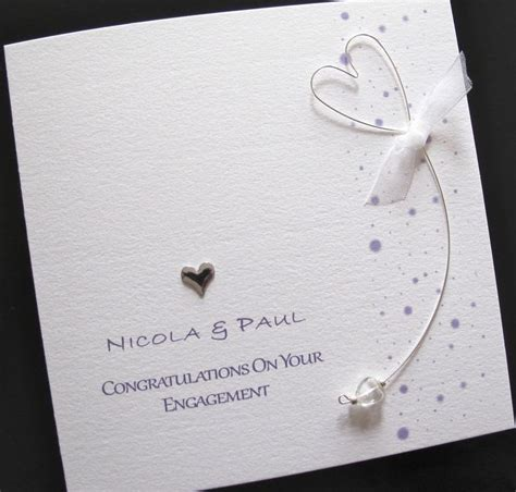 Handmade Engagement Card - personalised handmade wedding engagement congratulations