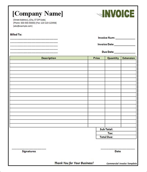 blank commercial invoice template best photos of blank sle invoice template blank