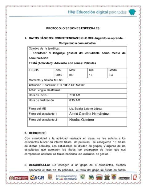 Diseño Curricular Por Competencias Colombia Aprende Protocolo Sesiones Especiales Completo M1 S3