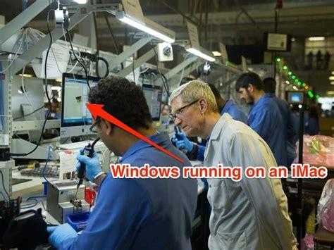 apple factory whoops apple ceo tweets photo of macs running windows