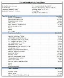 Free Film Budget Template Film Budget Template Sample Movie Production Budgeting