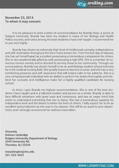 Recommendation Letter Nursing Letters Of Recommendation School Sles Cover Letter Templates