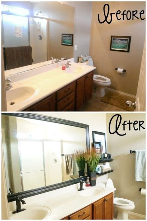 bathroom mirror makeover diy glued on mirror makeover a bathroom renovation on a