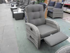 single rocking reclining rattan chair with footrest
