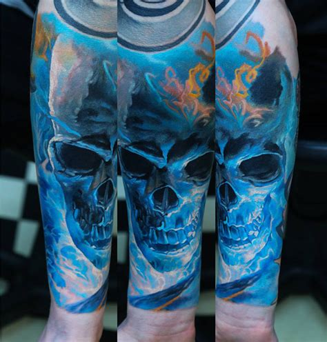 blue skull sleeve best tattoo ideas amp designs