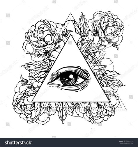 sacred geometry symbol all seeing eye stock vector blackwork flash all seeing eye stock vector 430201195
