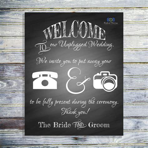 Wedding Ceremony No Phones unplugged wedding ceremony chalkboard sign no phones or