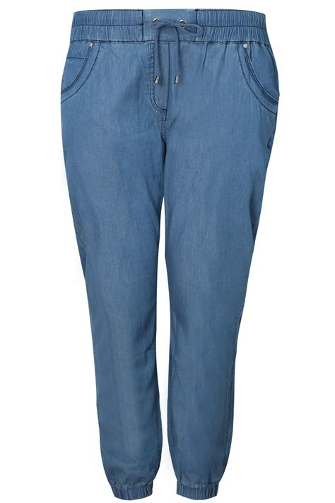 Harem Denim denim blue lightweight harem joggers plus size 16 18 20 22