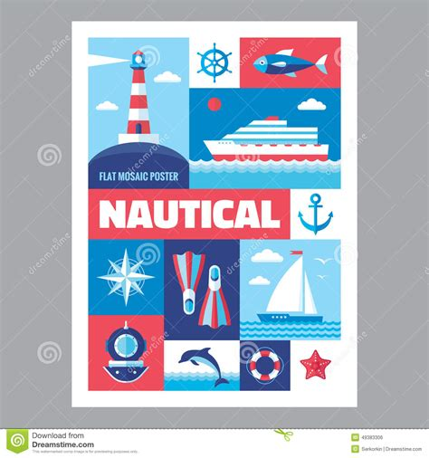 poster design kit nautical mosaic poster with icons in flat design style