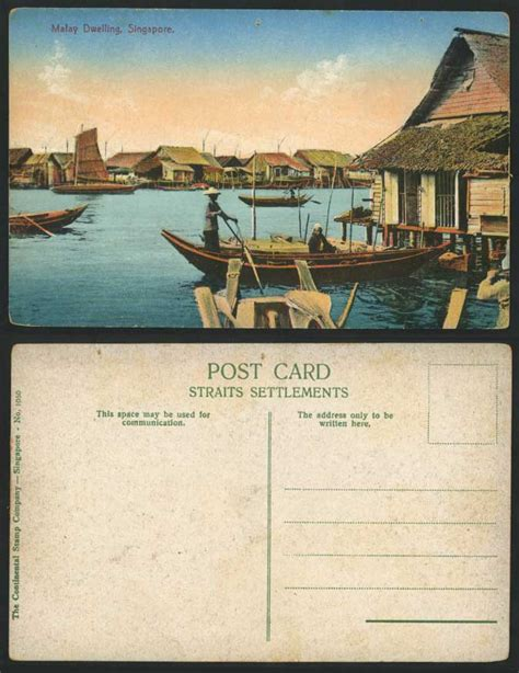 boat auctions singapore singapore old colour postcard malay dwellings houses huts