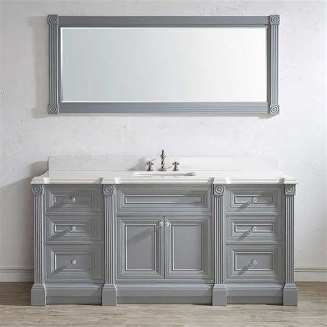 72 inch gray finish single sink bathroom vanity cabinet