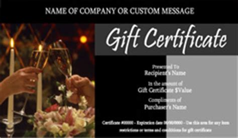 restaurant gift certificate templates easy   gift certificates