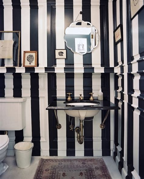 navy striped walls cottage bathroom ciuffo cabinetry