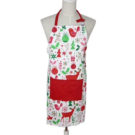 pattern cooking apron christmas white red cute gift with adjustable tape kithcen
