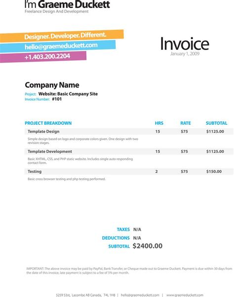 cool invoice template free invoice template