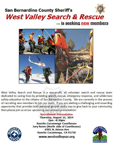 San Bernardino County Coroner Records West Valley Search And Rescue Team Seeking Volunteers Vvng Real News Real Fast