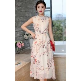 Tkwzqt Dress Motif Bunga Dress Bunga Dress Midi Dress Pesta Selutut midi dress motif bunga d2073 moro fashion