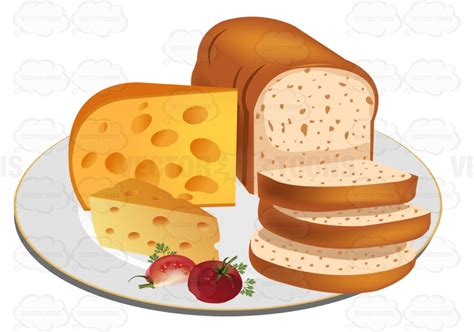 Gift Wrapped Christmas - sliced loaf of bread with cheese on a plate cartoon clipart vector toons