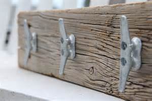 nautical coat rack with boat cleats made from reclaimed