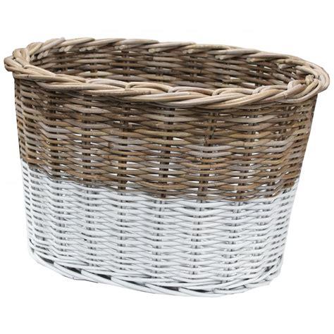 white rattan floor l grey white rattan wicker oval storage floor basket