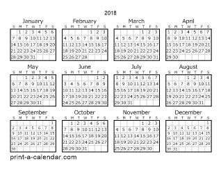 printable calendar year on one page 2018 one page calendar