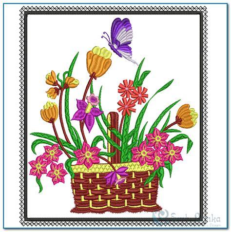 design a flower basket flower basket embroidery design emblanka com