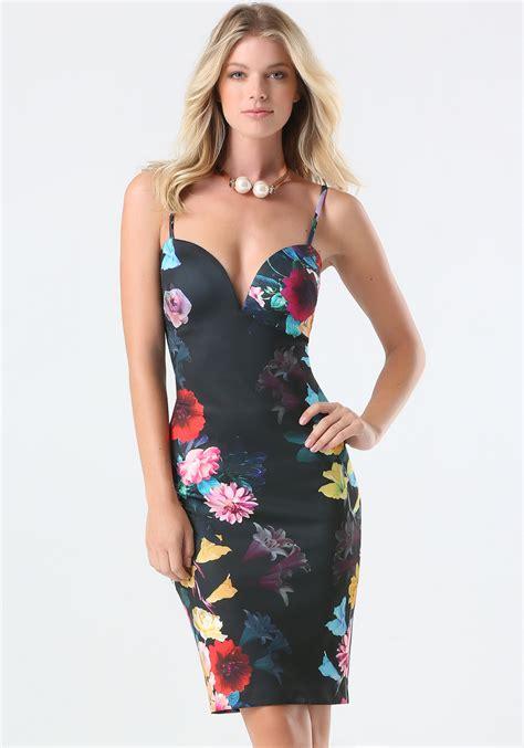 Dress Bebe Midi 1 lyst bebe floral print midi dress in black