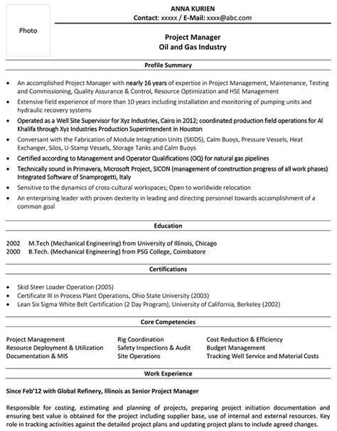 and gas resume template and gas cv sles and gas resume template