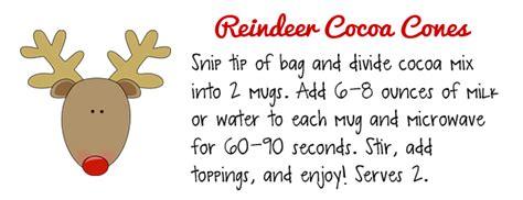printable reindeer hot chocolate labels mom made sewing shop tutorial reindeer cocoa cones