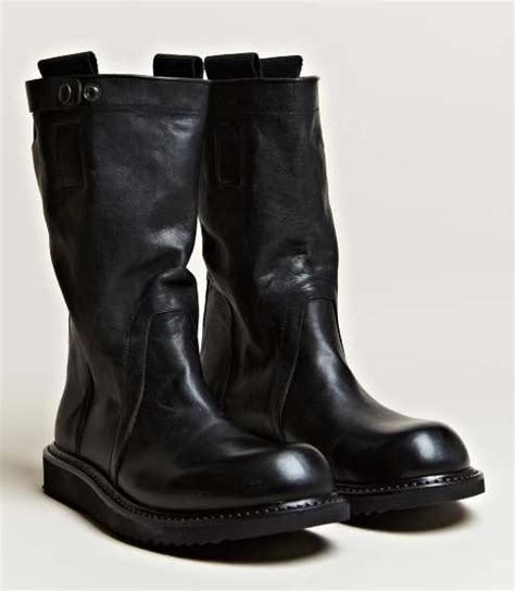 ruggedly leather kicks rick owens mens pull on
