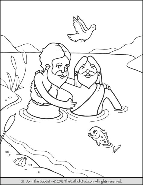 coloring page of john baptizing jesus saint john the baptist coloring pages the catholic kid