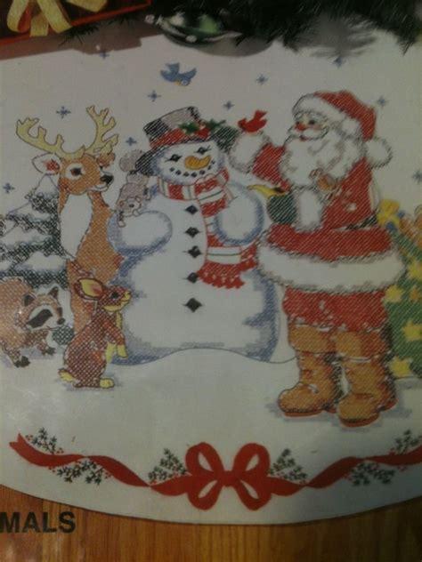 nip bucilla stamped cross stitch christmas tree skirt kit