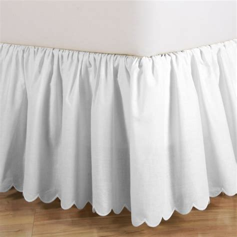 scalloped bed skirt 18 quot full white brittany schiffli scalloped bed skirt