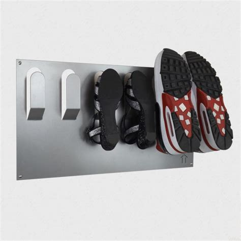 shoe storage wall mounted horizontal wall mounted metal shoe rack metallic silver