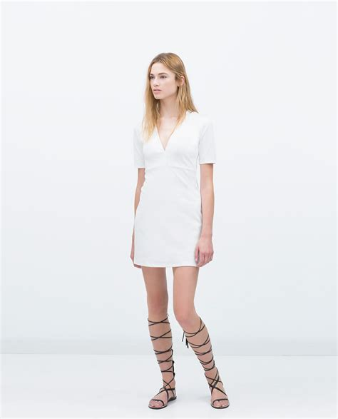 zara v neck dress in white lyst