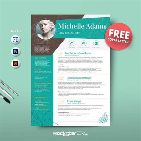 Resume Template Free Cover Letter Resume Templates Creative Market