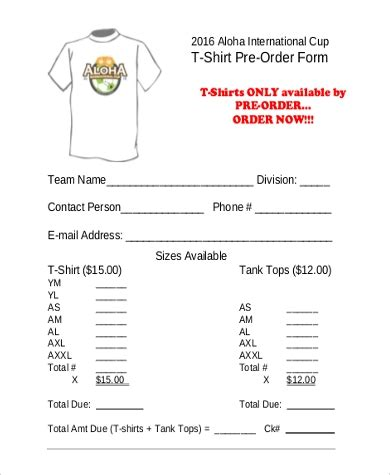 T Shirt Order Form Sle 7 Free Documents In Pdf T Shirt Pre Order Form Template