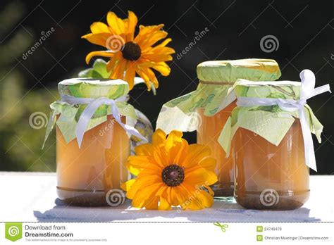 homemade flowers homemade jellies with flowers royalty free stock photos
