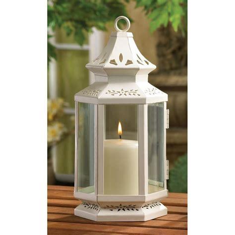Pillar Candle Lantern White Metal Iron Glass Hanging Tabletop Pillar Votive