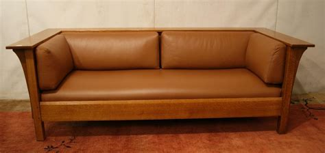mission quot stickley quot leather sofa