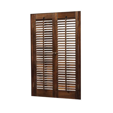 Wood Shutters Interior Lowes by Shop Allen Roth 23 In 25 Inw X 24 Inl Colonial Mahogany