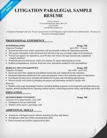 Paralegal Resumes by Litigation Paralegal Resume Sle Paralegal Resume Career Options And Paralegal